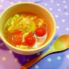ミニトマトとセロリで簡単スープ
