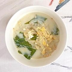 もやしとワカメの豆乳スープ
