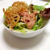 レンコンチップの水菜サラダ