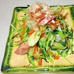 弁当のおかず♪シャキシャキ豆苗の野菜炒め
