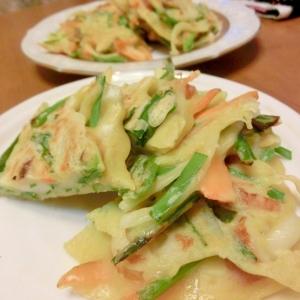 野菜とちくわのチヂミ