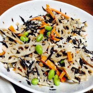 ひじきの煮物リメイク☆蓮根枝豆デリサラダ