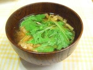 しゃきしゃき水菜と油揚げの味噌汁