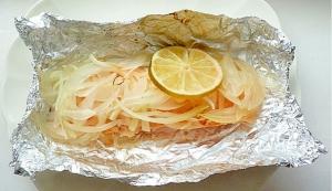 オーブントースターで 鮭のホイル焼き