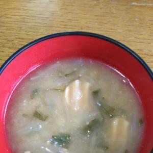 魚肉ソーセージ&玉ねぎ&ネギのお味噌汁