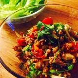 パクチーとひき肉のラープ風サラダ