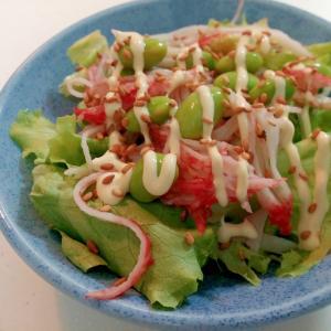 青ドレ/マヨで レタスとシーサラダと枝豆のサラダ