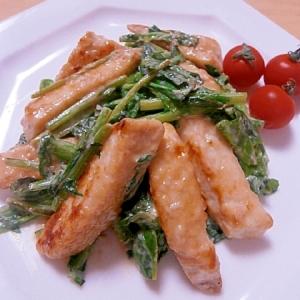 メカジキと菜花のオイスターマヨ炒め
