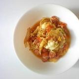 野菜、ウインナー、焼売の卵とじ