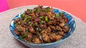 青唐辛子と挽き肉炒め