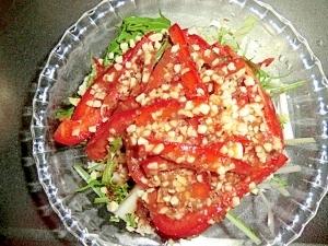白菜と水菜とパプリカのサラダ
