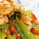 豚バラ肉と小松菜のニンニク味噌和え