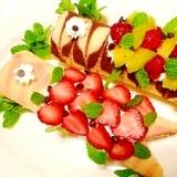 市販のロールケーキで☆鯉のぼり