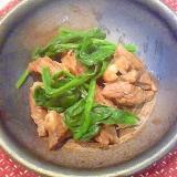ほうれん草と牛肉のガーリック&焼肉のタレ炒め♪