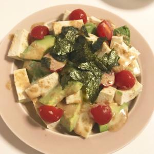 アボガド豆腐のわさびマヨサラダ