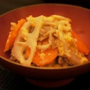 食物繊維たっぷり、根菜と茸のひよこ豆和え