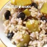 黒豆幻米でゴロッゴロのサツマイモごはん