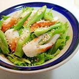 水菜と竹輪とオクラの和風サラダ