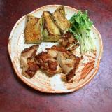白ナスと鶏モモのケイジャンスパイスソテー。