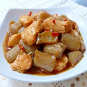 圧力鍋でこんにゃくと鶏肉のピリ辛煮