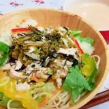 7品目で栄養満点!明太高菜と蒸し鶏のパスタサラダ