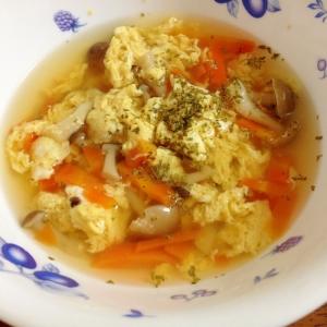 卵人参シメジのコンソメスープ