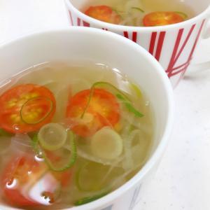 ミニトマトと玉ねぎのコンソメスープ