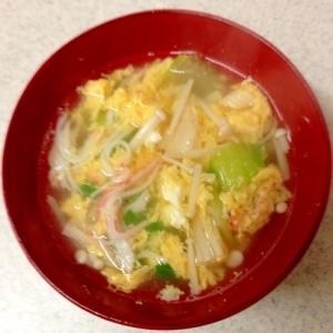 えのきとカニカマ、卵のスープ