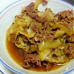 牛肉と白菜と玉ねぎのすきやき風煮込み