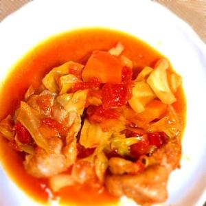 チキンとキャベツのピリッとトマト煮込み