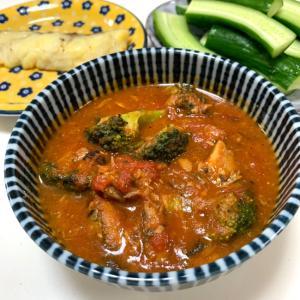 生トマトで❤️鯖味噌煮缶のブロッコリー入りトマト煮