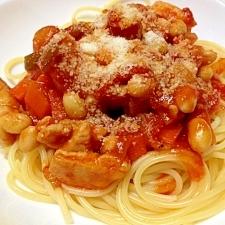 鶏肉と大豆のトマトパスタ