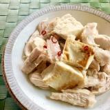 簡単!レンジ蒸し鶏と豆腐のペペロン炒め