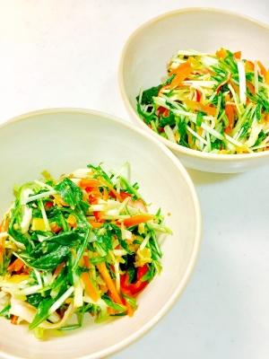 水菜とカニカマの中華サラダ