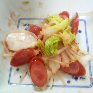 ウィンナー炒め白菜もやし蒸トマトケチャップ和え