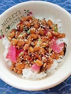 納豆の食べ方-切干大根&漬物♪