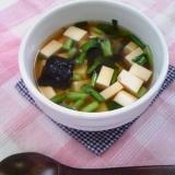 ニラたっぷり♪豆腐と韓国海苔の旨味スープ♪