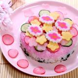 ひな祭り三色&水玉寿司ケーキ