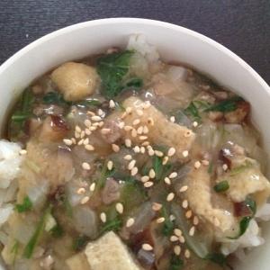 新玉ねぎと水菜の中華餡掛け丼