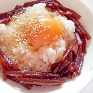 きゃらぶきと白ごまで 卵かけご飯