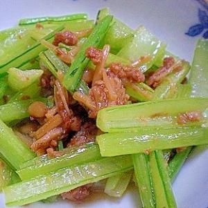 「小松菜の軸の鶏そぼろ炒め」    ♪♪