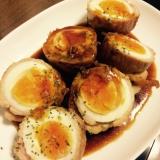 肉巻きゆで卵の甘辛生姜焼き