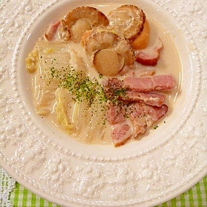 飲み干したくなる美味しさ☆ほたての豆乳スープ