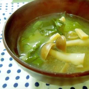 チンゲン菜とキノコのみそ汁