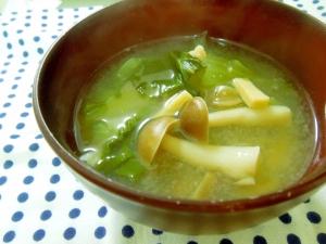 チンゲン菜とキノコのお味噌汁☆