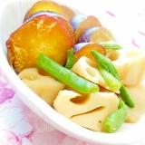 ❤薩摩芋と蓮根とインゲンの炊いたん❤