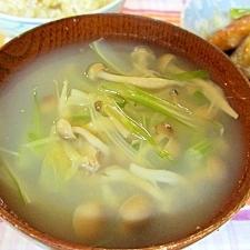 セロリとしめじのスープ