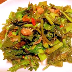 空芯菜と干し海老と茗荷の中華炒め