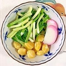 浅葱、銀杏、板蒲鉾の梅酢和え