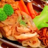 椎茸と新玉葱の和風ジンジャーバーグソース